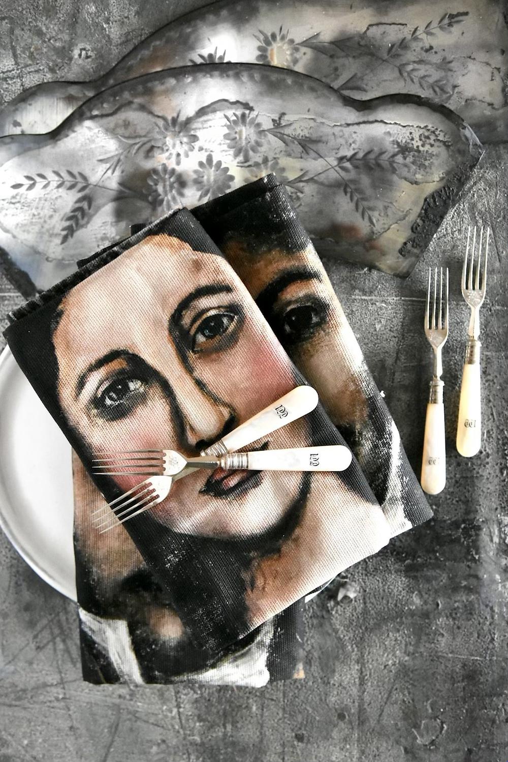 Portrait tea towels by artist Jennifer Lanne for Decorum