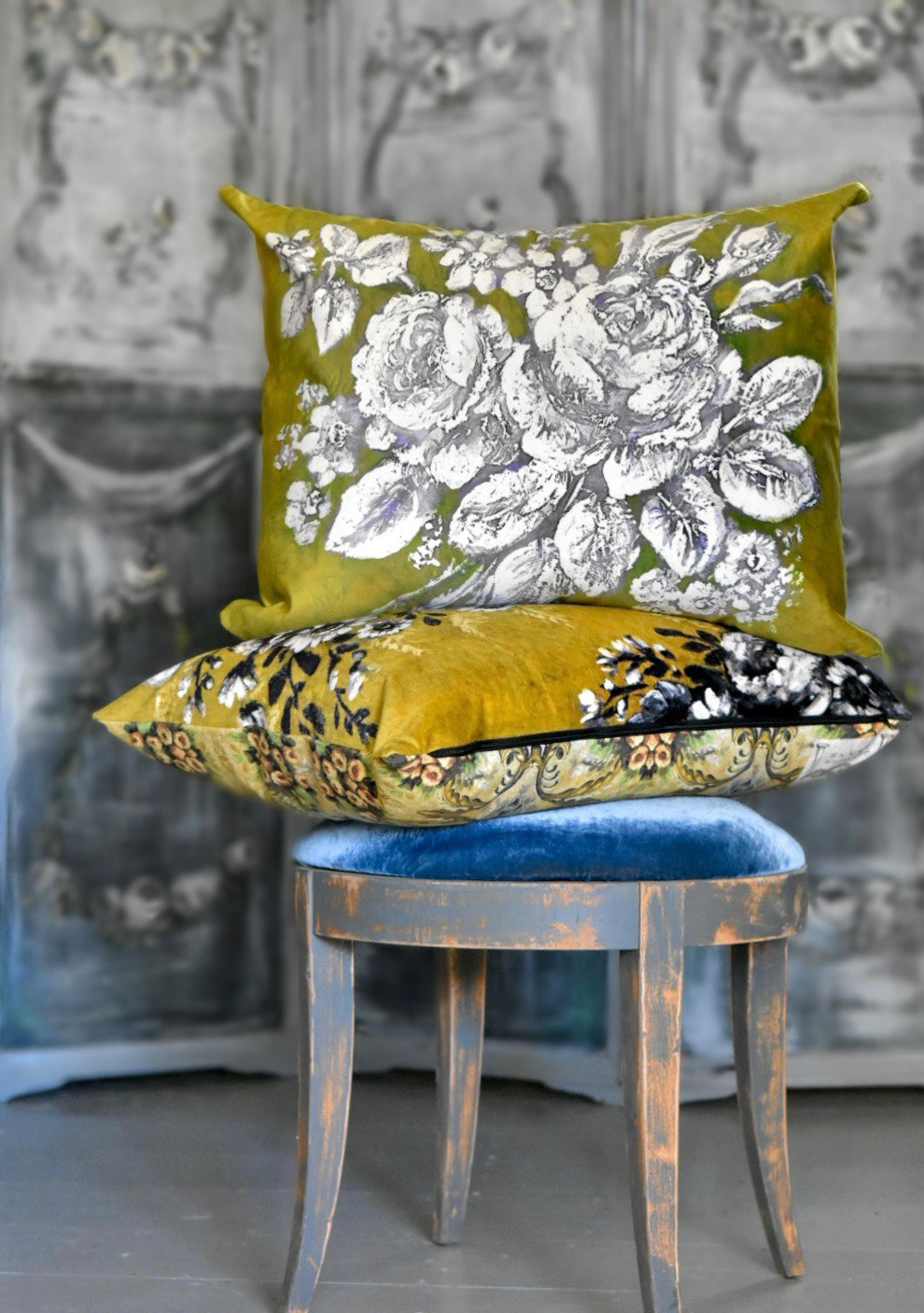 Velveteen pillows by artist Jennifer Lanne for Decorum