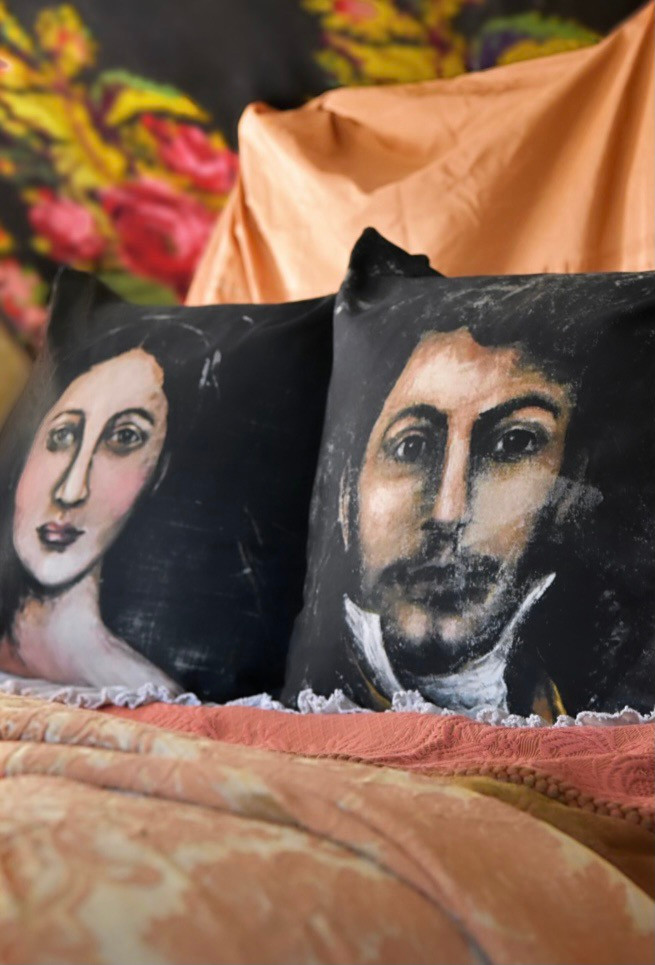 Antique inspired portrait pillows by Jennifer Lanne for Decorum