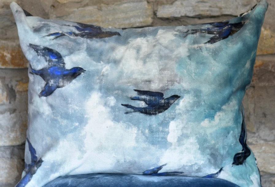 Bluebirds Pillow Cover