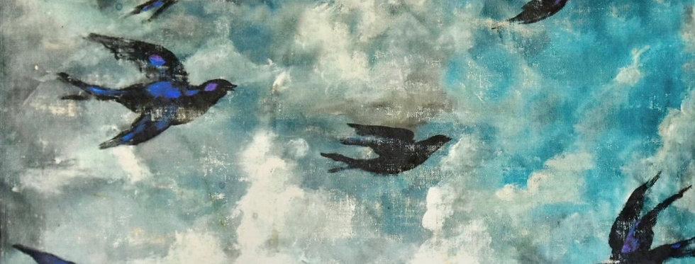 Bluebirds Printed Backdrop with Gilding