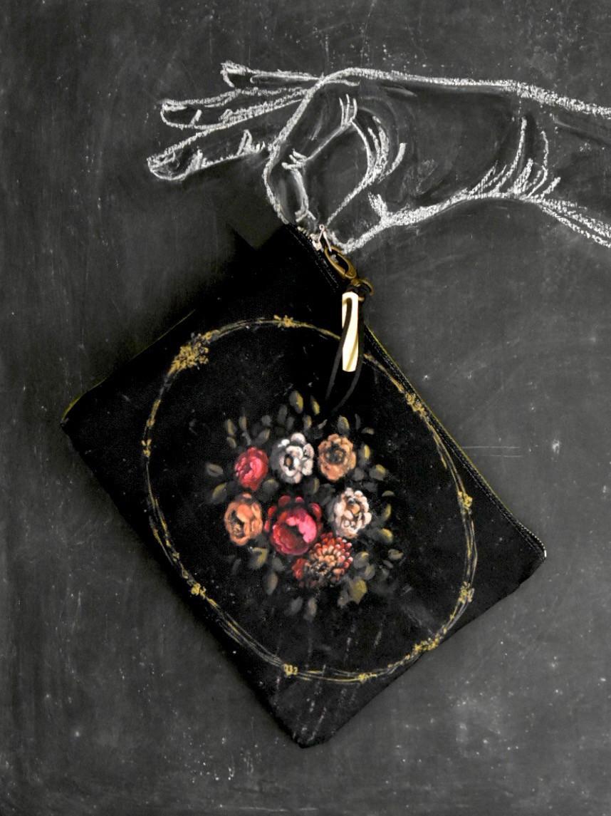 Canvas zippered pouch, pochette by artist Jennifer Lanne for Decorum