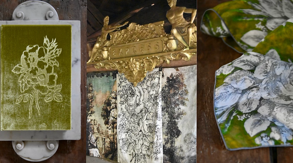 Silk Velvet books, printed backdrops and silk scarves by artist Jennifer Lanne for Decorum in chartreuse