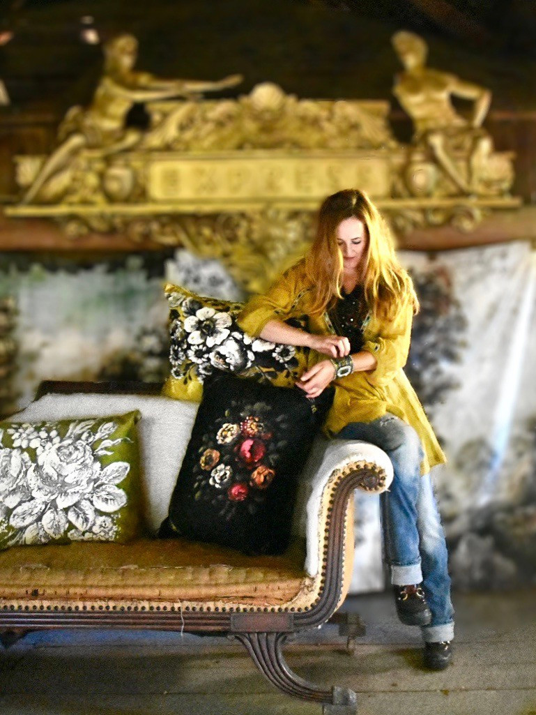 Artist Jennifer Lanne with velveteen pillows for Decorum