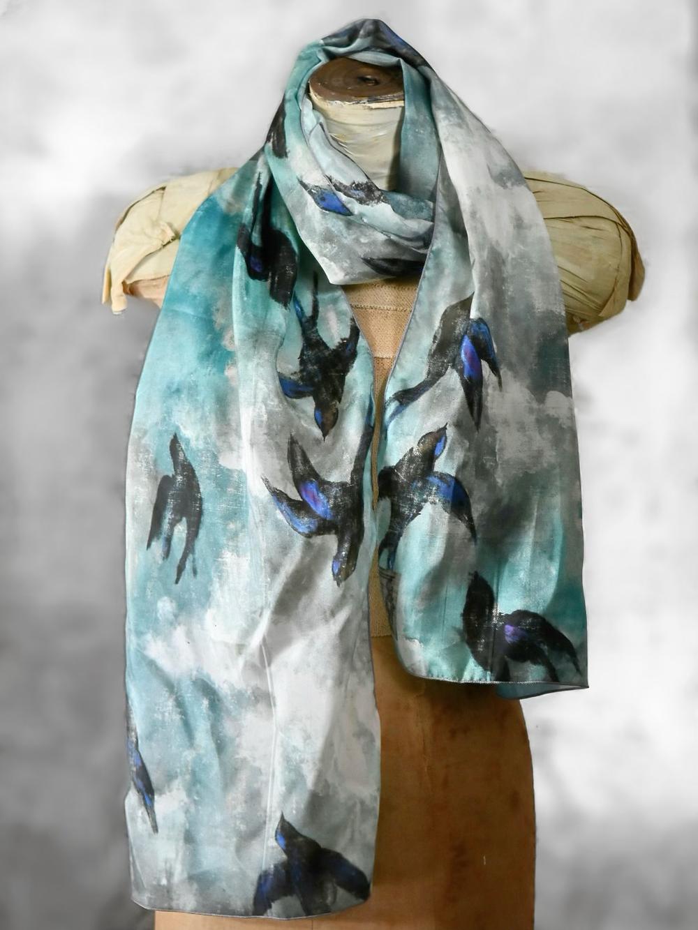 Jennifer Lanne bluebird silk scarf