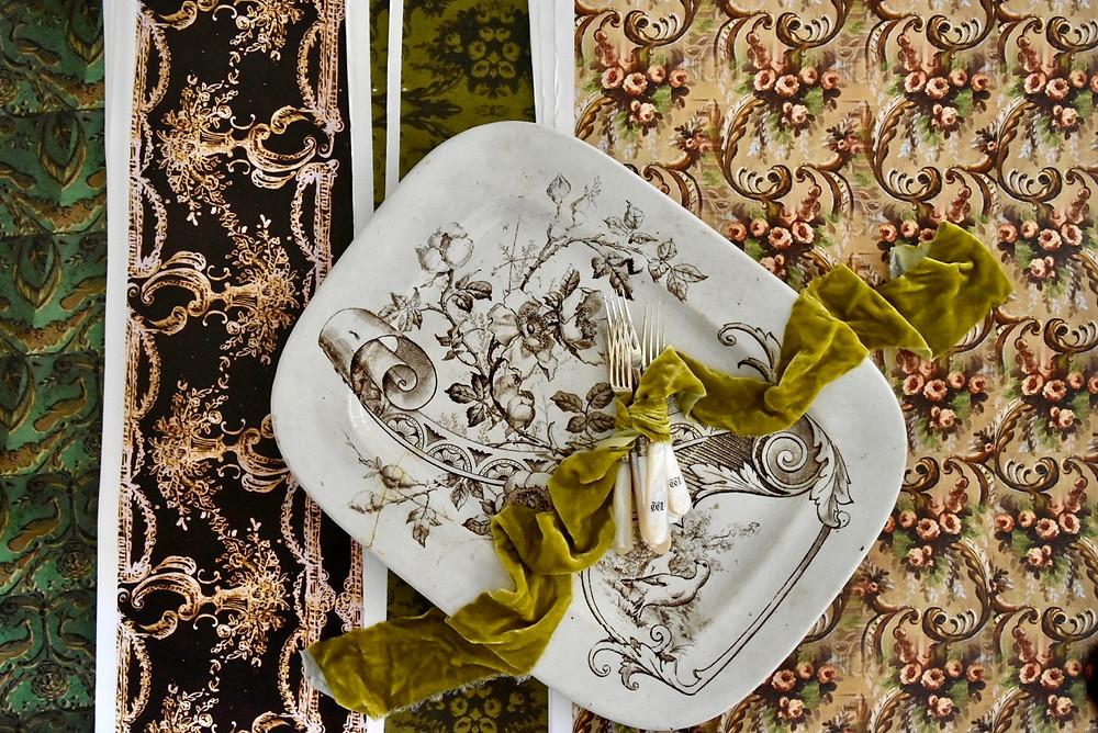 Jennifer Lanne vintage inspired wallpaper, artwork designs wrapping papers for Decorum