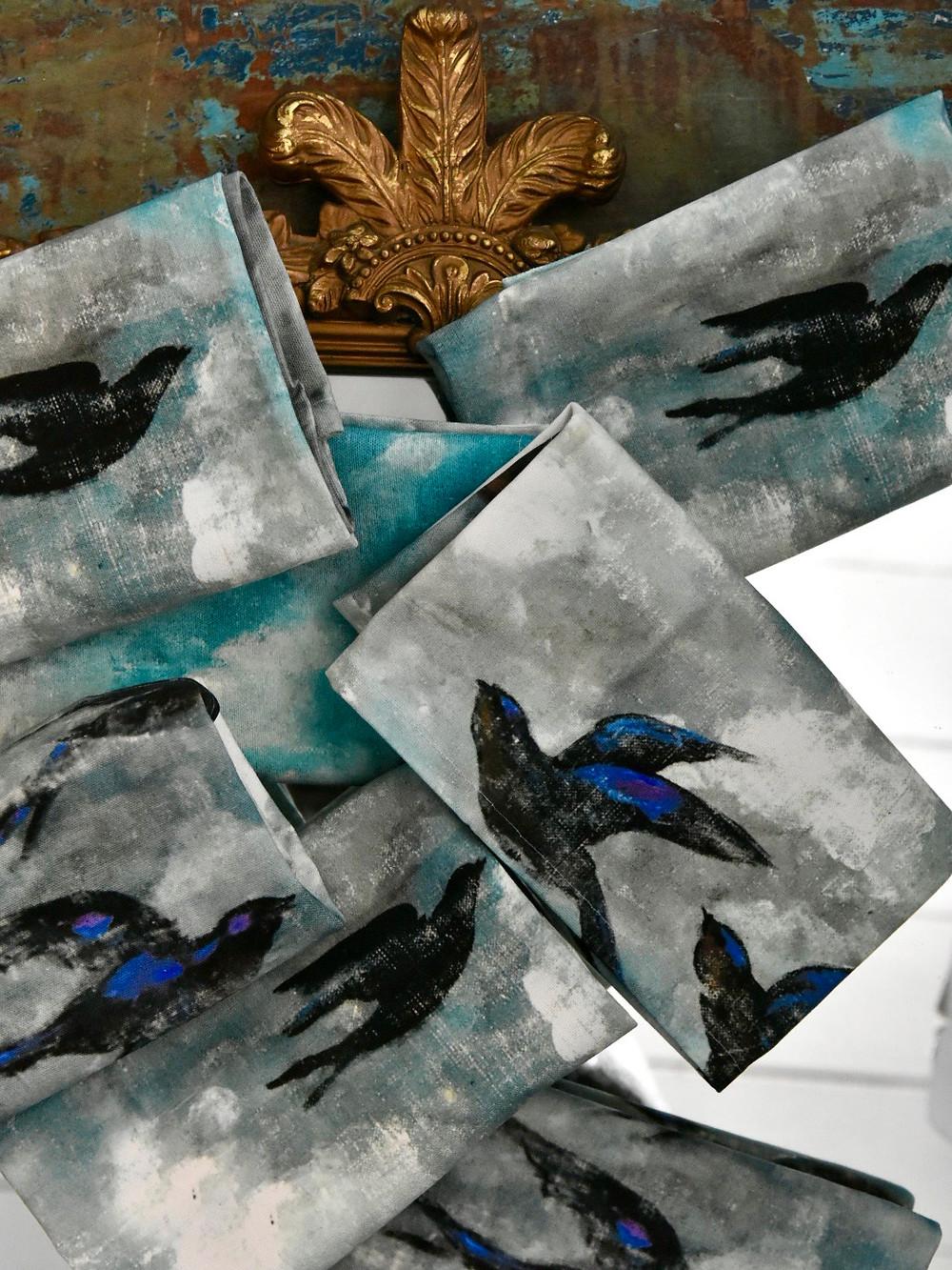 Jennifer Lanne bluebird tea towels