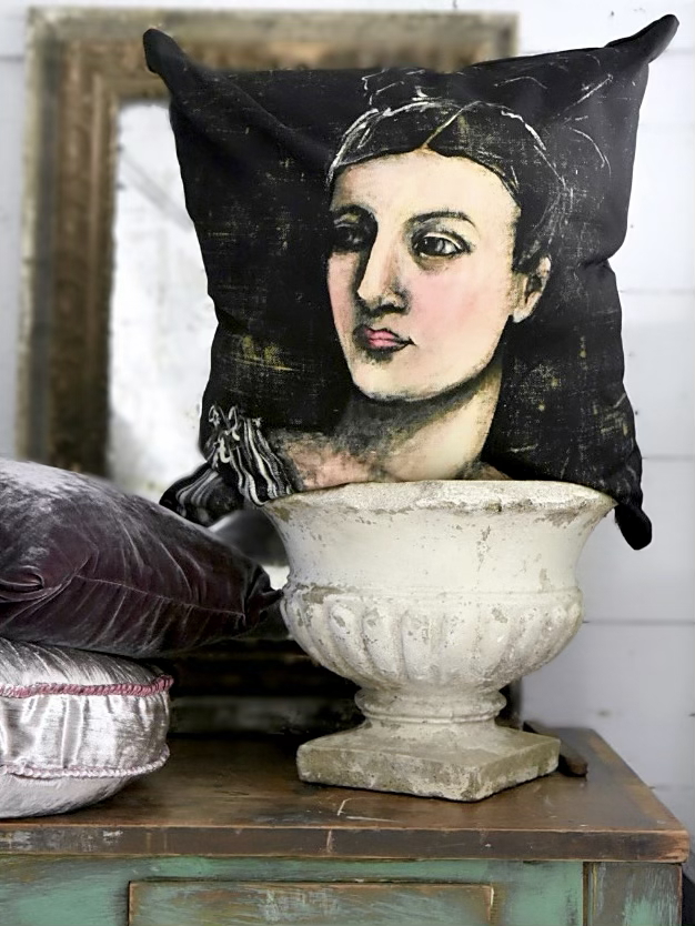 portrait pillow by Jennifer Lanne for Decorum