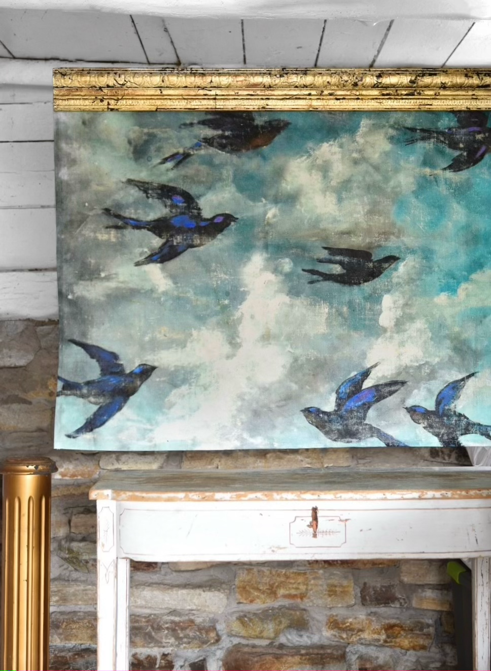 Bluebird printed backdrop on canvas with gilded cornice