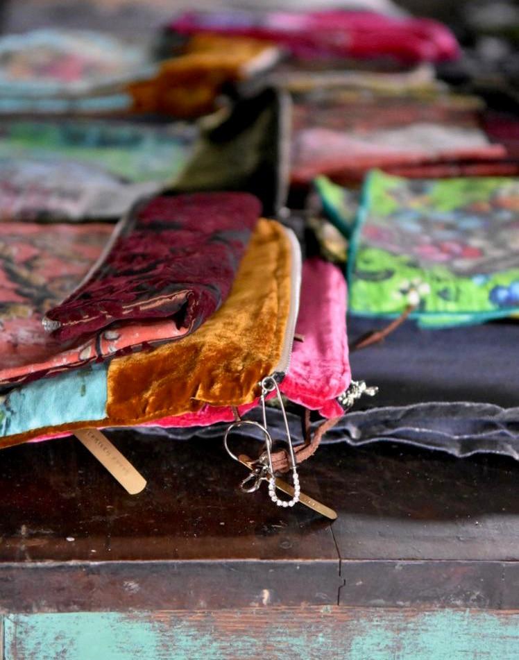 Artist Jennifer Lanne silk velvet pochettes Decorum