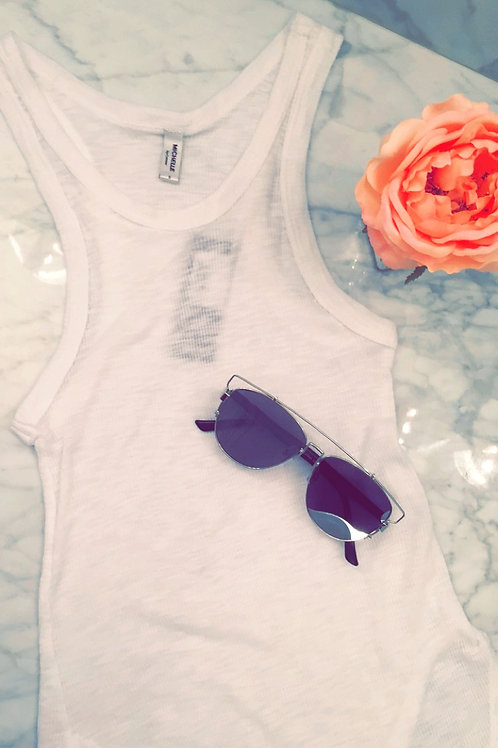 WHITE RIBBED SCALLOP TANK