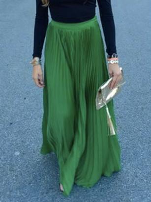 Kelly Green Pleated Maxi