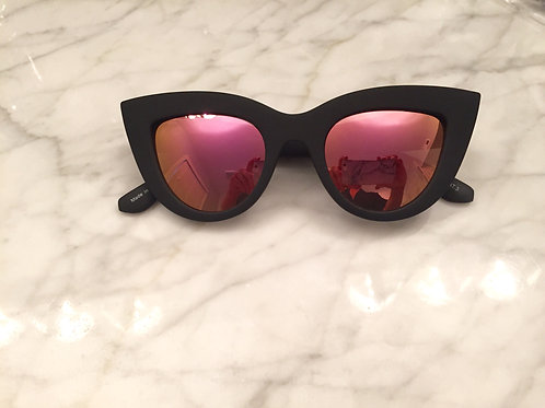 Quay Matte Black and Pink Mirror Sunglasses