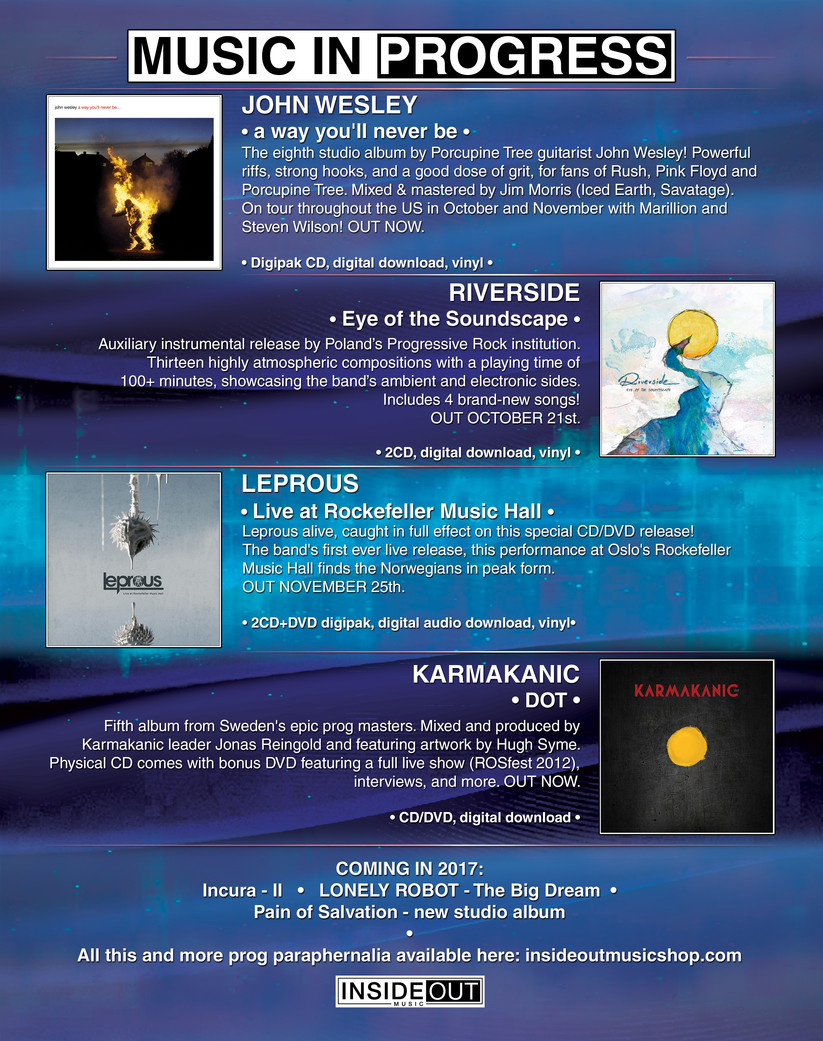 InsideOut Music Full Page Ad highlighting current and future releases. Used for the annuel Prog Power Festival / Progression Magazine.  Media. Photoshop.  Client. InsideOut Music