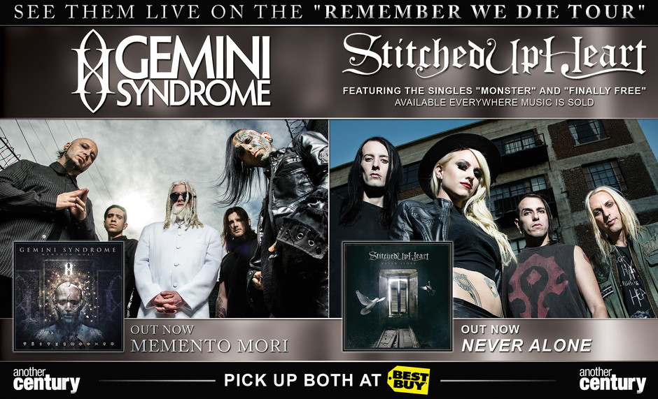 """Half Page ad for Another Century's """"Gemini Syndrome, Stitched Up Heart  Used for  Guitar World Magazine.  Media. Photoshop.  Client. Another Century Records"""
