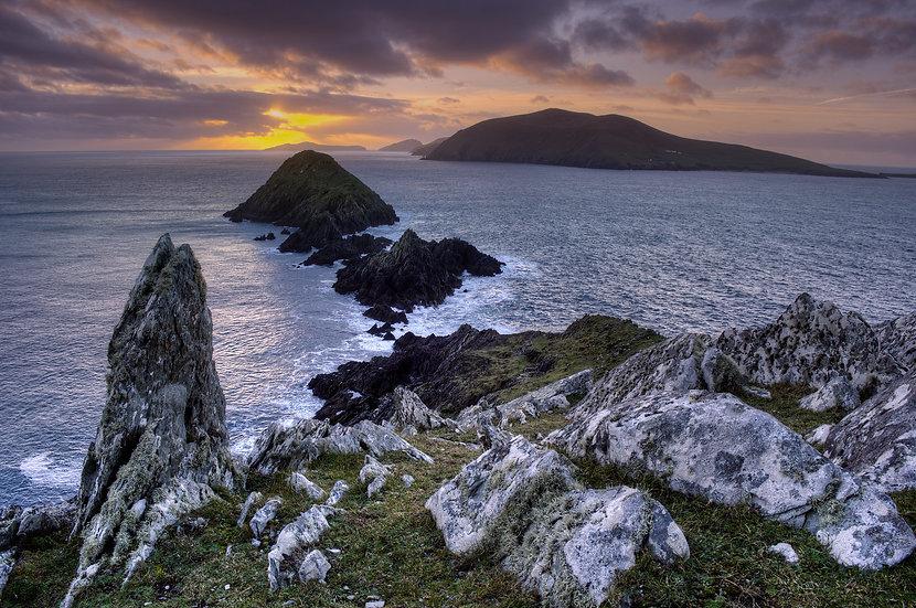Dunmore Head Sunset/Blasket Island - Print