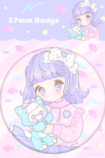 Fancy Surprise - Pastel Cat and Girl Button