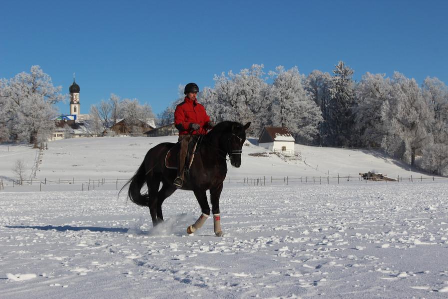 Markus Rudolph reitet im Schnee