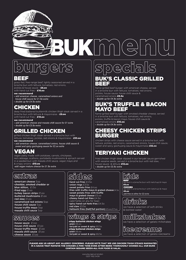 Burger UK restaurant menu black 2020 WEB