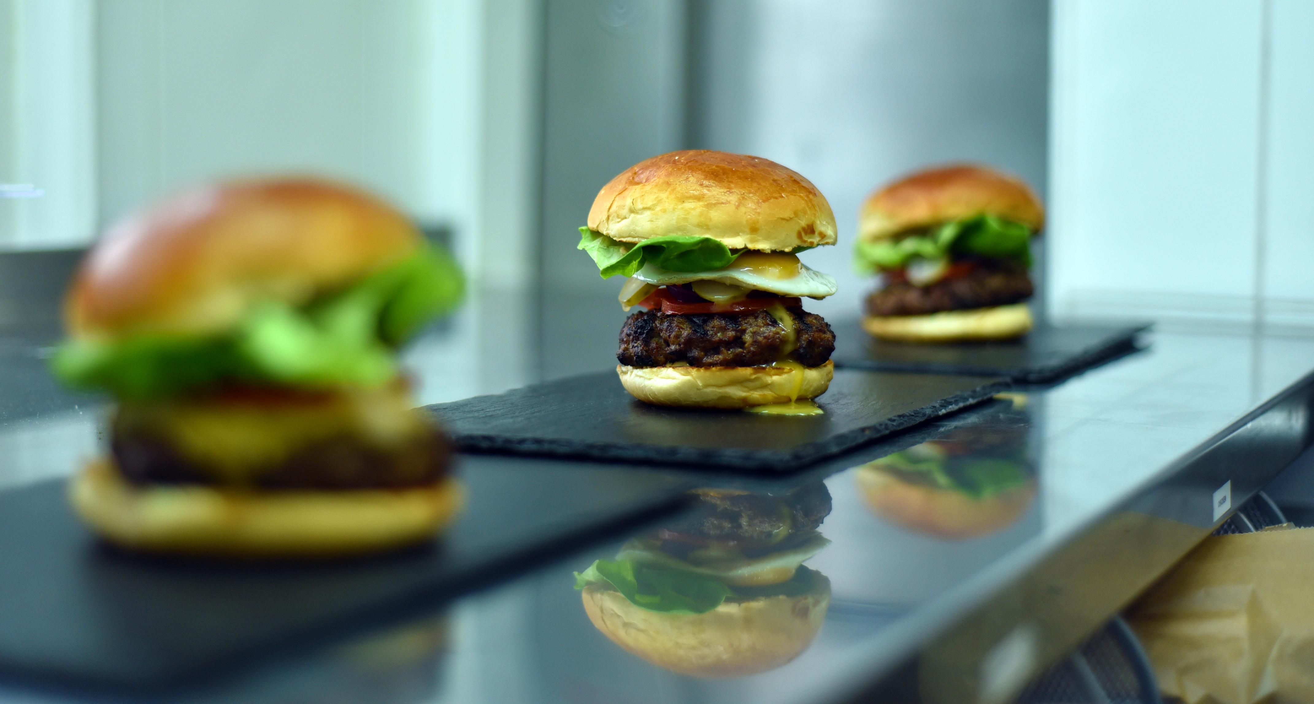 Three Beef Burgers
