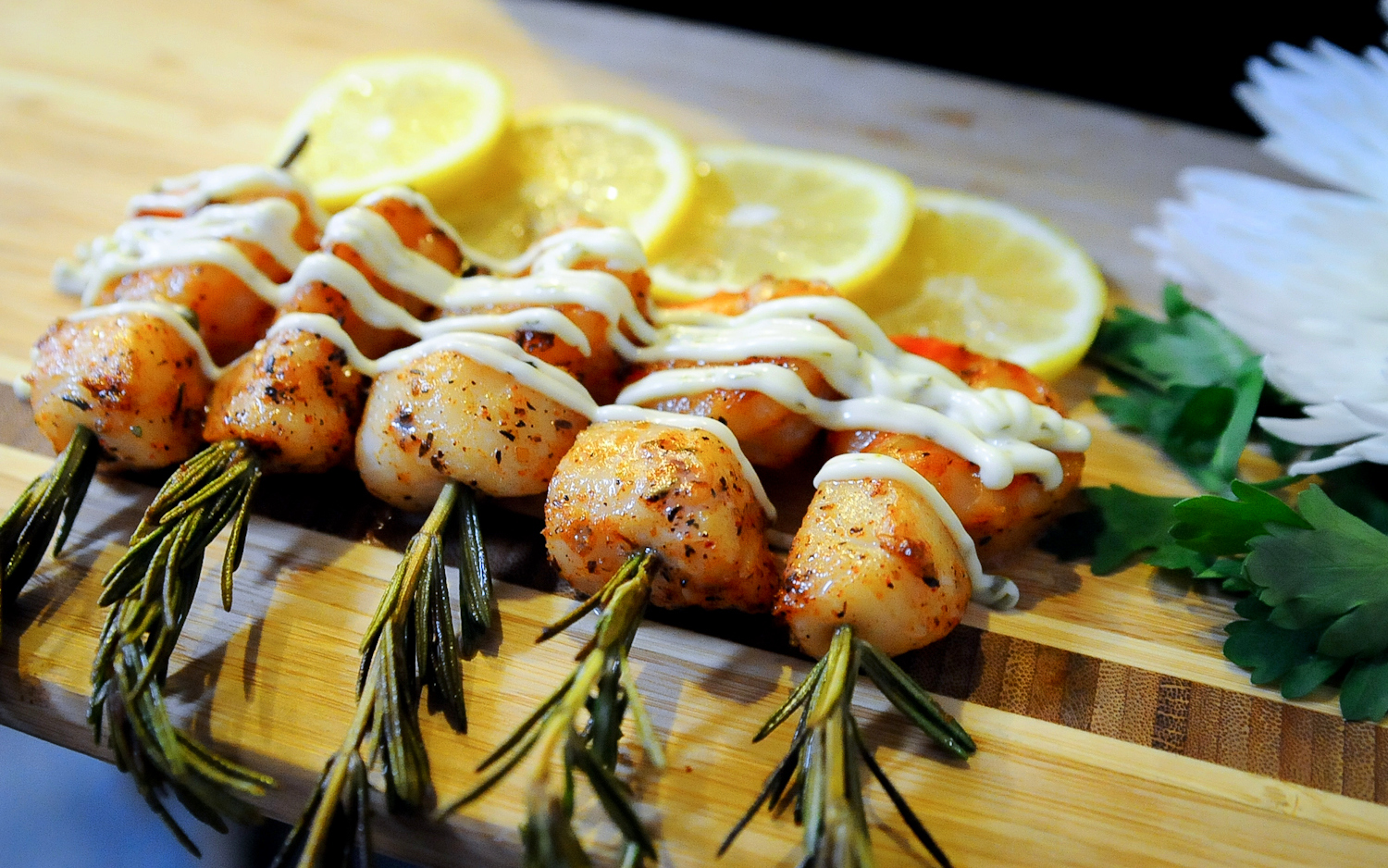 Scallop kebabs