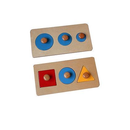 Геометрические пазлы: шесть фигур на 2-х подставках