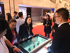 Interactive cabinet with transparent screen
