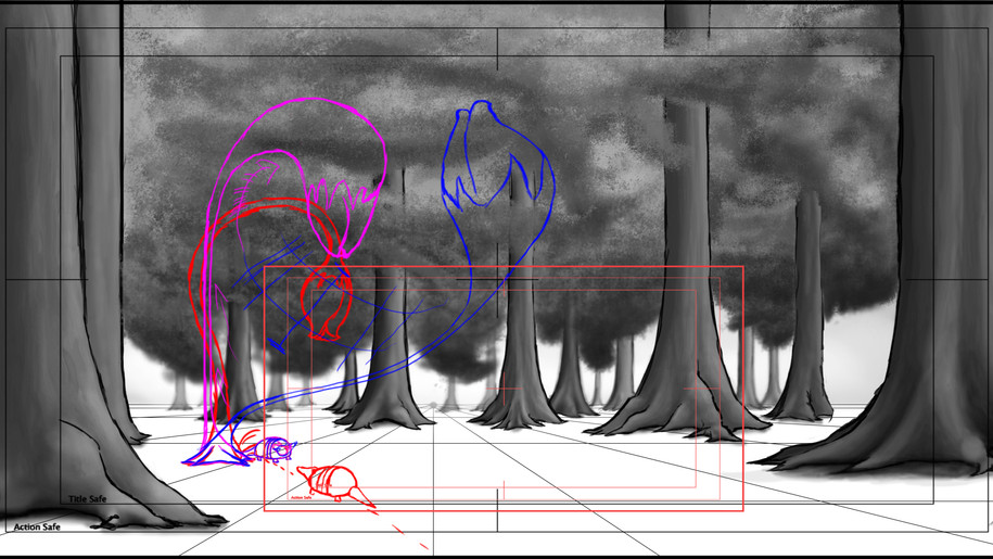 Layouts for shot 1