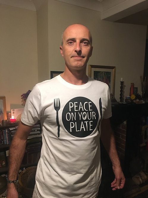 Peace on your plate unisex organic t-shirt