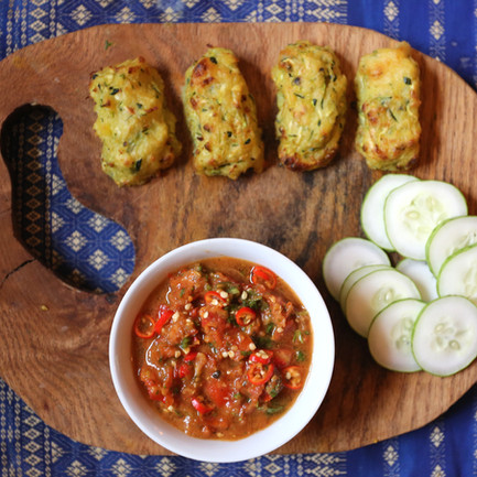 Courgette Fritters and Special Salsa