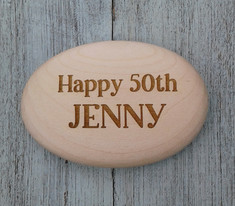 Personalised Wooden Pebble (Front)