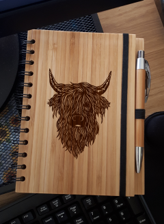 A5 Bamboo Notebook with Pen (Highland Coo 'Angus')