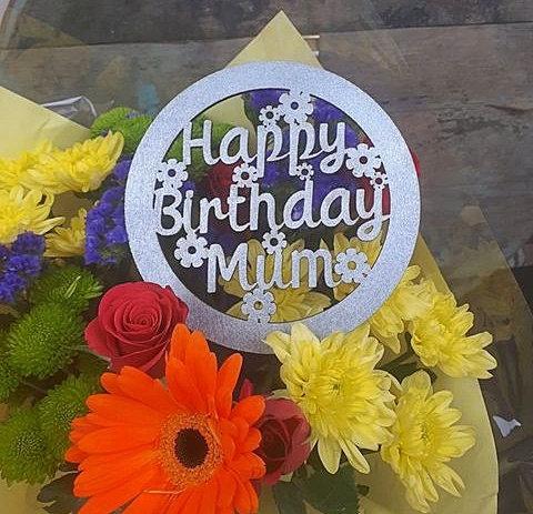 Wooden Flower Topper (Happy Birthday Mum/Mam)