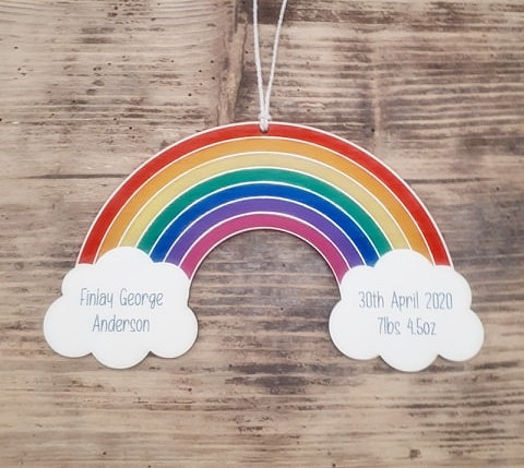 New Baby Personalised Rainbow Plaque