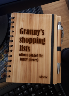 A5 Bamboo Notebook with Pen (Granny's Shopping Lists)