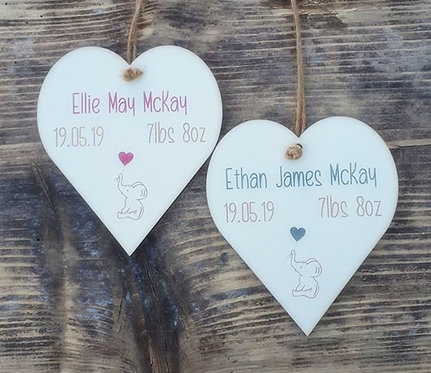 New Baby Personalised Heart Plaque