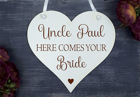 Personalised Wedding Heart (Here Comes Your Bride)