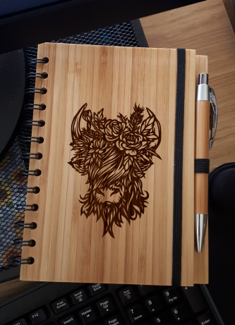 A5 Bamboo Notebook with Pen (Highland Coo 'Iona')