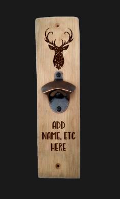 Oak Stave Bottle Opener (Stag's Head)