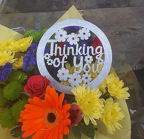 Wooden Flower Topper (Thinking of You)