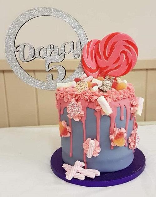 Customised Cake Topper (Circle) - 12cm