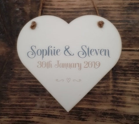 Personalised Couples Heart Plaque
