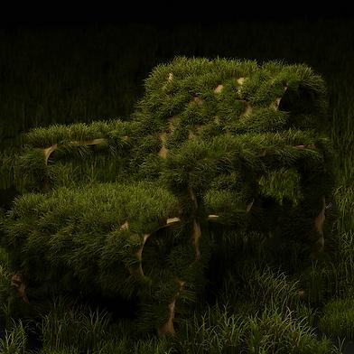 modélisation 3d de chaise sur laquelle pousse de l'herbe
