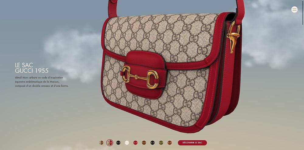 Visualisation 3d, modèle 3d de produit sac Gucci