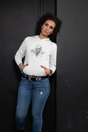 Forty A.F. by Femme Jolie Eye Design Studio. Pull Over hoodie in Snow White