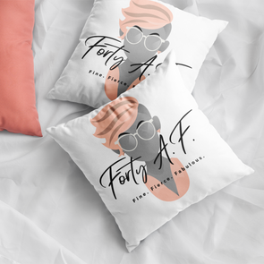 Forty A.F. - Peachy Keen Throw Pillow