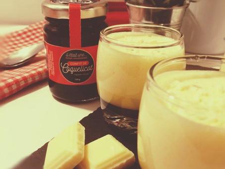 Mousse au chocolat blanc et confit de Coquelicot