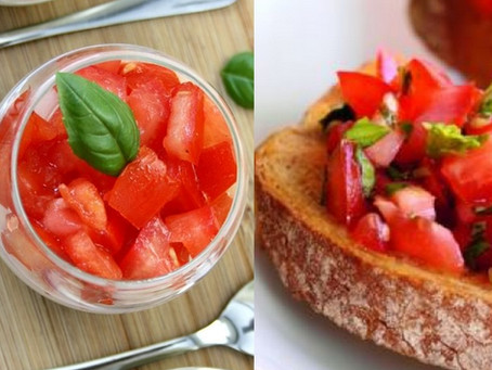 Salade de tomates au confit de Basilic
