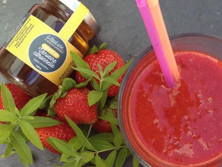 Jus de fraise et confit de Verveine citronnelle
