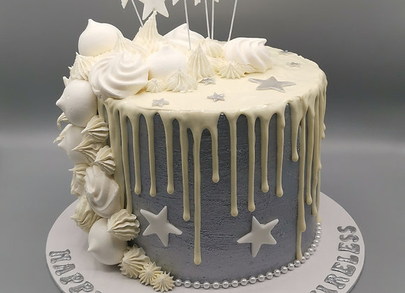 Drip cake -silver stars